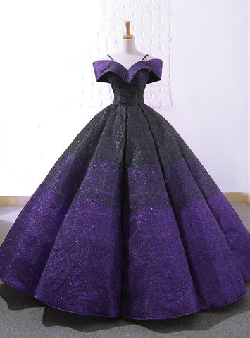 Purple And Black Ball Gown Sequins Off The Shuolder Wedding Dress