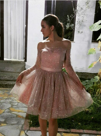 Pink Tulle Sequins Off The Shoulder Long Sleeve Homecoming Dress