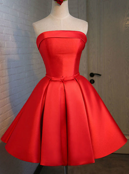 Chic Short Evening Dress With Ruched Skirt Graduation Dresses 2017 Red Satin