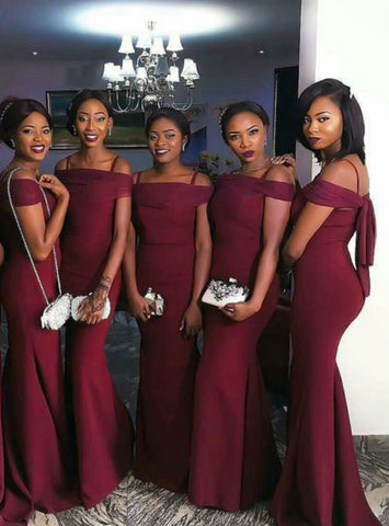 Adorable Burgundy Mermaid Prom Dresses Off-the-Shoulder Long Sexy Bridesmaids Dress