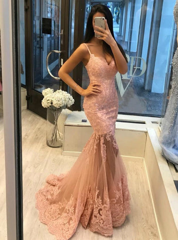 Pink Mermaid Spaghetti Straps Tulle Appliques Formal Prom Dress