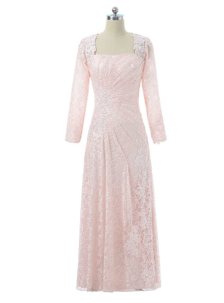 2017 Mother Of The Bride Dresses A-line Long Sleeves Appliques Lace Pink