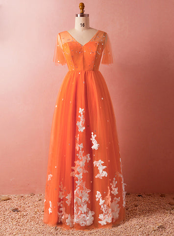 Plus Size Orange V-neck Tulle Short Sleeve Backless Floor length Appliques Prom Dress