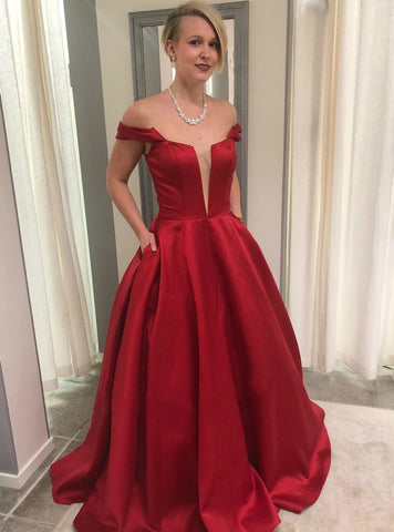 A-Line Red Satin Off The Shoulder Long Prom Dress With Pockets