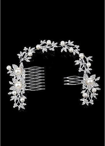 Alloy Wedding Hair Jewelry With Rhinestones & Pearls