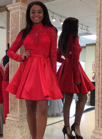 Red Satin Lace High Neck Long Sleeve Homecoming Dress