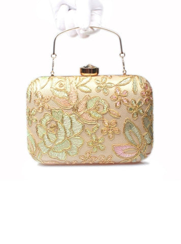 Fashion European Style Lace Embroidery Evening Clutch