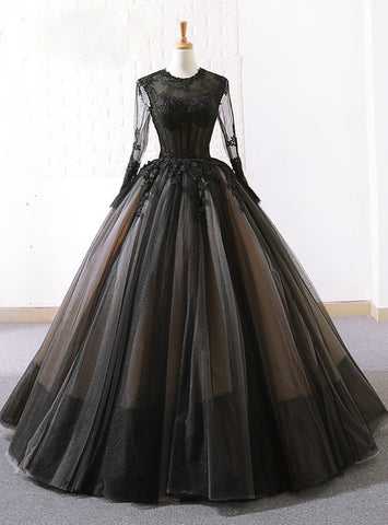 Black Ball Gown Tulle Lace Long Sleeve Floor Length Wedding Dress