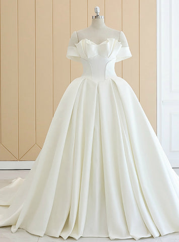 Attractive White Off The Shoulder Satin Wedding Dress With Long Train