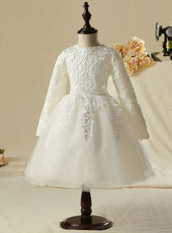2017 Knee-Length Ball Gown Simple Flower Girl Dresses White