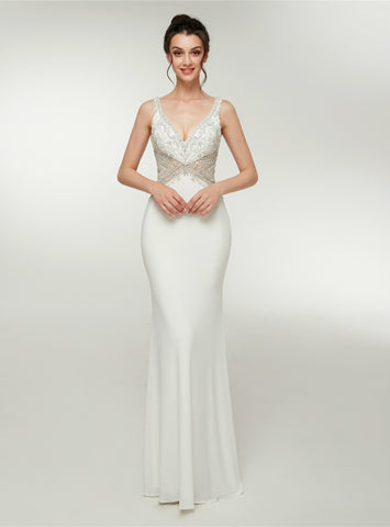 Sexy White Meramid Deep V-neck Backless Crystal Prom Dress