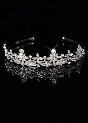 Cheap Amazing Silver-plated Alloy Tiara With Rhinestones