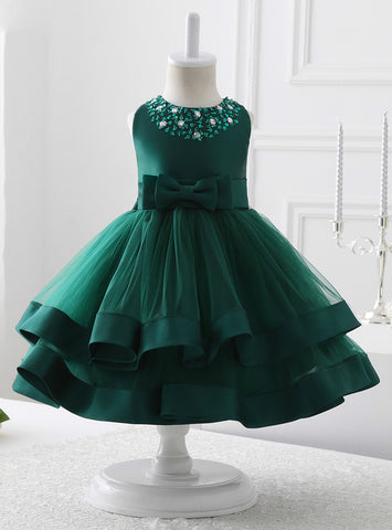 Green O neck Floor Length Tulle Flower Girl Dresses