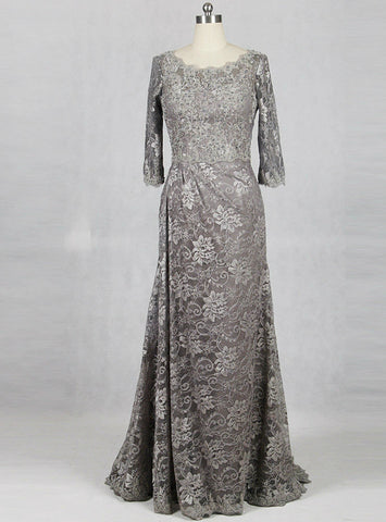 Silver Gray Mother Of Bride Dresses Lace Long For Wedding Party Dresses