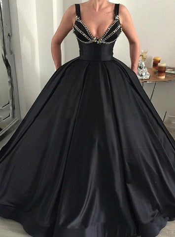 Black Ball Gown Straps Satin Crystal Floor Length Prom Dress With Pocket