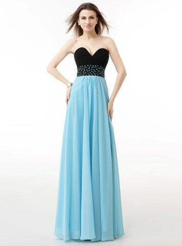 A-Line Blue And Black Chiffon Sweetheart Neck Pleats Long Bridesmaid Dress
