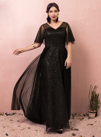 Plus Size Black Tulle V-neck Short Sleeve Long Prom Dress