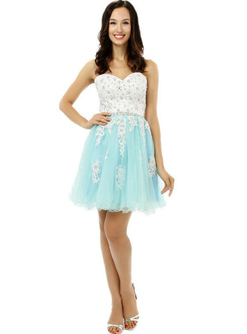 Blue Tulle White Lace Appliques Sweetheart Short Homecoming Dress