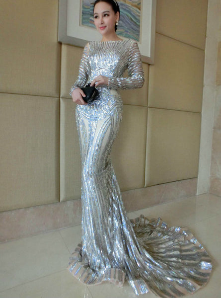 Long Sleeve Sheer Neck Sequins Court Train Luxury Silver Mermaid Prom Dresses