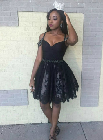 Black Spaghetti Straps Tulle Lace Beading Short Homecoming Dress
