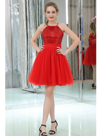 Little Red Sequined Tulle Short Homecoming Dress Cocktail