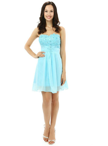 Blue Chiffon Lace Sweetheart Homecoming Dress With Crystal