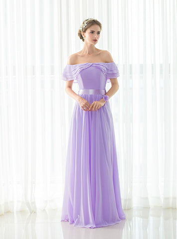 Beach Light Purple Chiffon Off The Shoulder Long Bridesmaid Dress