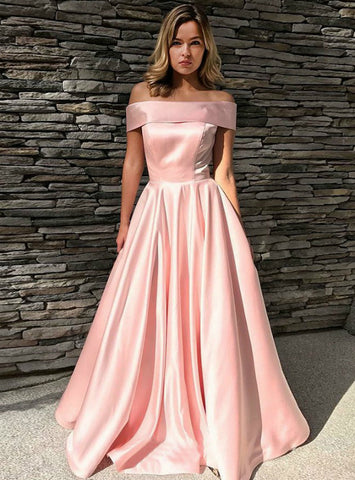 A-Line Off the Shoulder Pink Satin Prom Dress With Pockets