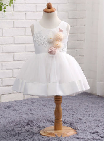 Children White Wedding Party Formal Flower Girls Dress Sleeveless