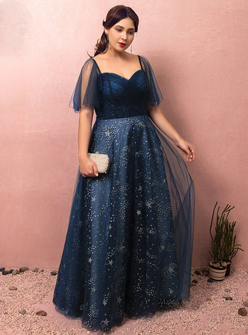 Plus Size Blue Tulle Sweetheart Short Sleeve With Star Prom Dress