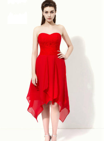 Red Sweetheart Backless Chiffon Lace Tea Length Bridesmaid Dress
