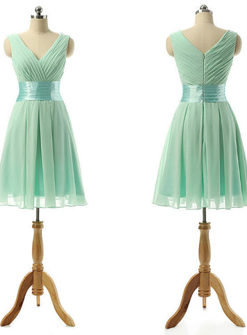 Fashionable Light Green V-neck Bridesmaid Dresses with Soft Pleats