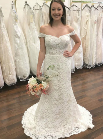 White Lace Mermaid Off The Shoulder Backless Floor Length Wedding Dress