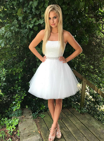 White Strapless Tulle With Beading Short Homecoming Dress