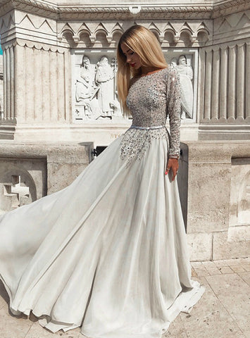 A-Line Gray Chiffon Bateau Long Sleeve Backless Long Prom Dress