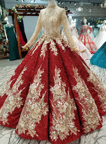 Red Ball Gown Sequins Long Sleeve Appliques Sequins Wedding Dress