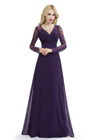 Purple Long Sleeve V-neck Chiffon Lace Bridesmaid Dress
