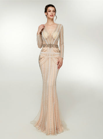 Champagne Mermaid Tulle Long Sleeve Floro Length Prom Dress With Crystal