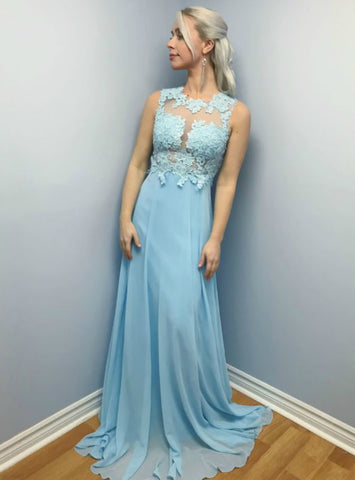 Long Sky Blue Lace Bodice Cross Back Sleeveless Formal Prom Dress