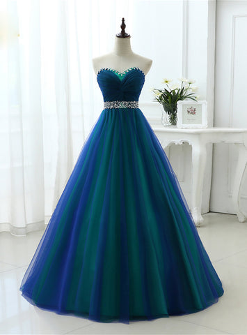 Blue Sweetheart Tulle Pleats Long Prom Dresses With Crystal