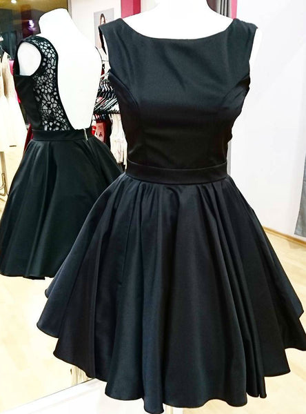 Cute Backless Little Black Dress Short Satin Homecoming Party Gowns