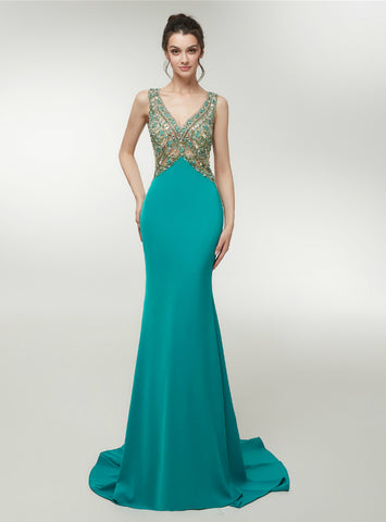 Sexy Green Satin Mermaid Backless Floor Length Prom Dress With Crysatl