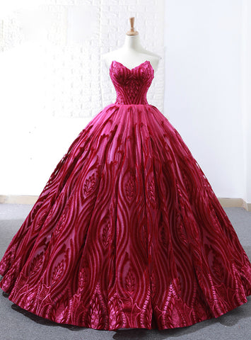 Elegance Red Ball Gown Lace Embroidery Sweetheart Wedding Dress