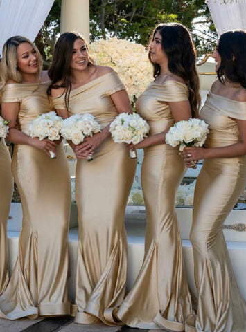 Gold Mermaid Off-the-Shoulder Sweep Floor Length Bridesmaid Dress
