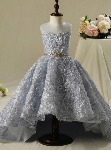 Silver Ball Gown Scoop Neck Sleeveless 2017 Flower Girl Dresses