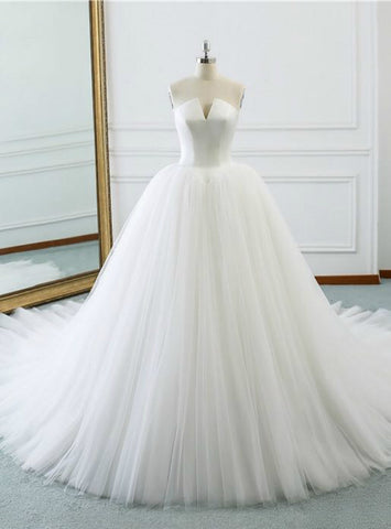 Charming White Ball Gown Strapless Satin Tulle V-neck Wedding Dress