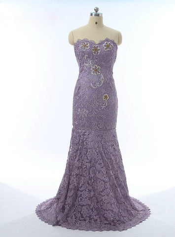 Luxurious 2017 Mother Of The Bride Dresses Mermaid Sweetheart Lace Purple