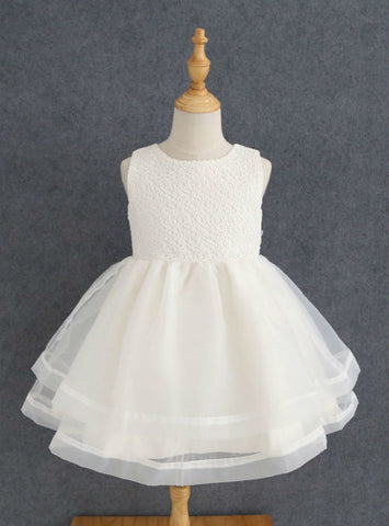 Simple Ivory Lace Tulle A Line Sleeves Knee Length Flower Girl Dresses