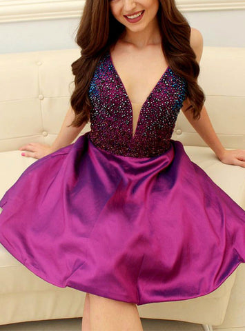 Purple Short V-Neck Prom Homecoming Dress With Beading