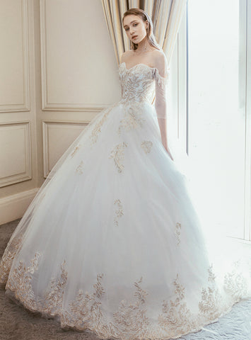 White Ball Gown Tulle Appliques Short Sleeve Backless Floor Length Wedding Dress